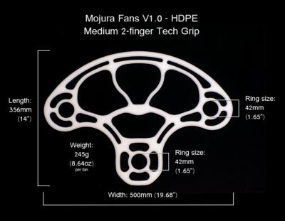 HDPE Mojura Fans V1 Medium 2-finger Dimensions