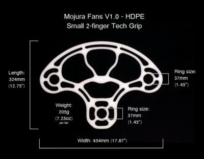 HDPE Mojura Fans V1 Small 2-finger Dimensions