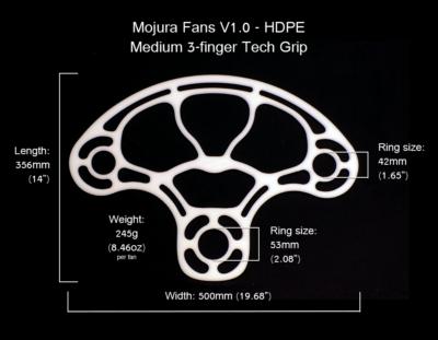HDPE Mojura Fans V1 Medium 3-finger Dimensions
