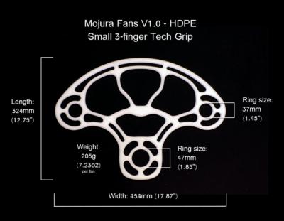 HDPE Mojura Fans V1 Small 3-finger Dimensions