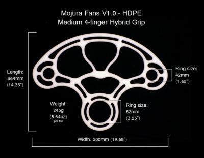 HDPE Mojura Fans V1 Medium 4-finger Dimensions