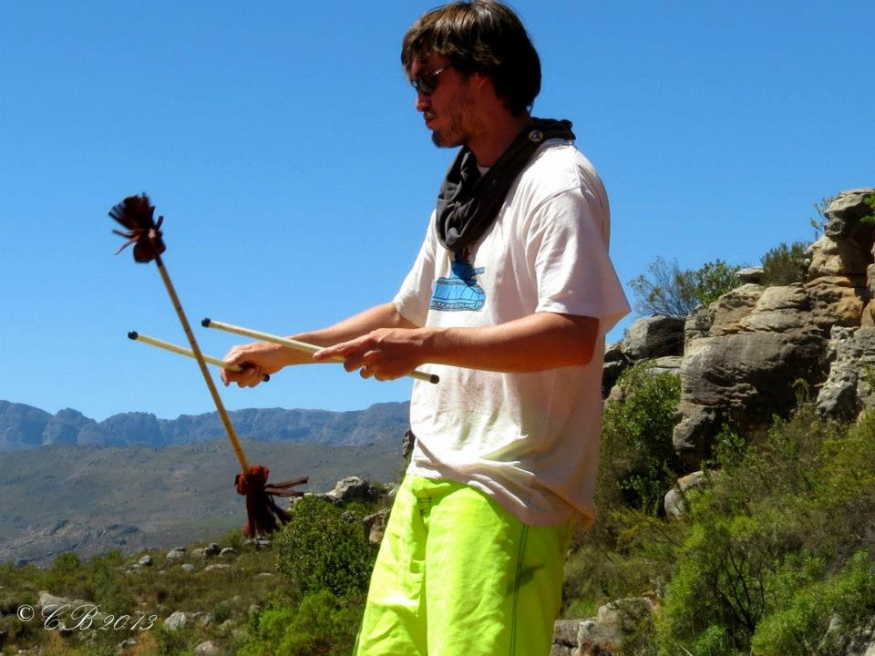 Duncan Greenwood spinning flower sticks in 2013